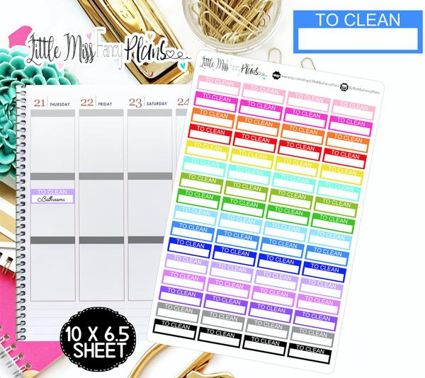 To Clean <Label Boxes> - Erin Condren, Happy Planner Stickers
