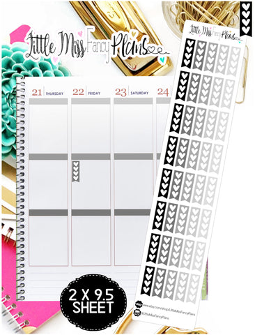 Neutral Mini Heart Checklist <Sticker Strip> - Erin Condren, Happy Planner Stickers