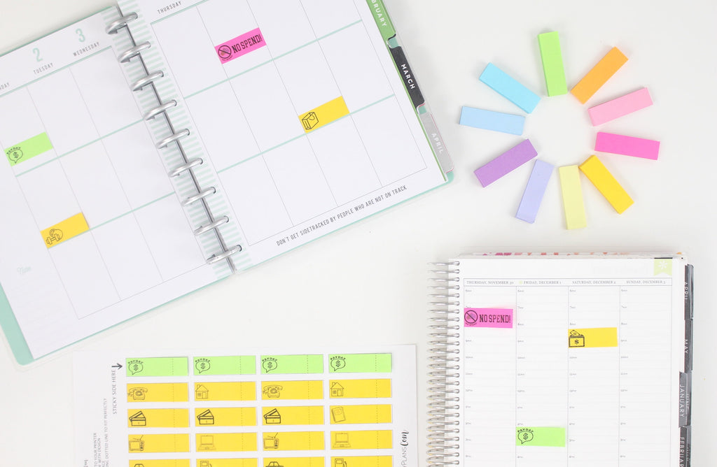 NO SPEND Template For Printing Post-it Sticky Notes <Printables>  | Classic Size Happy Planner, Erin Condren