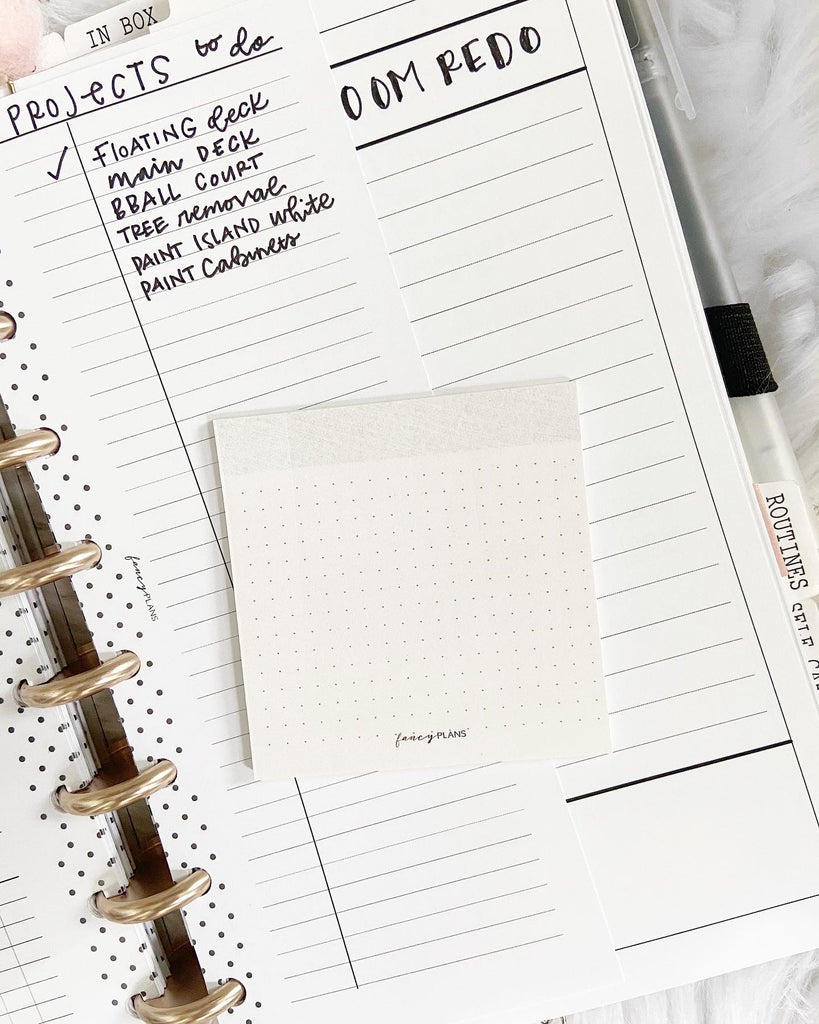 Gray Header and Dot Grid Sticky Notes