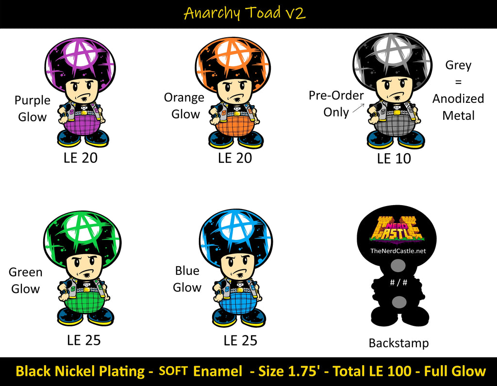 Anarchy Toad v2 Enamel Pin Set ** PRE-ORDER **