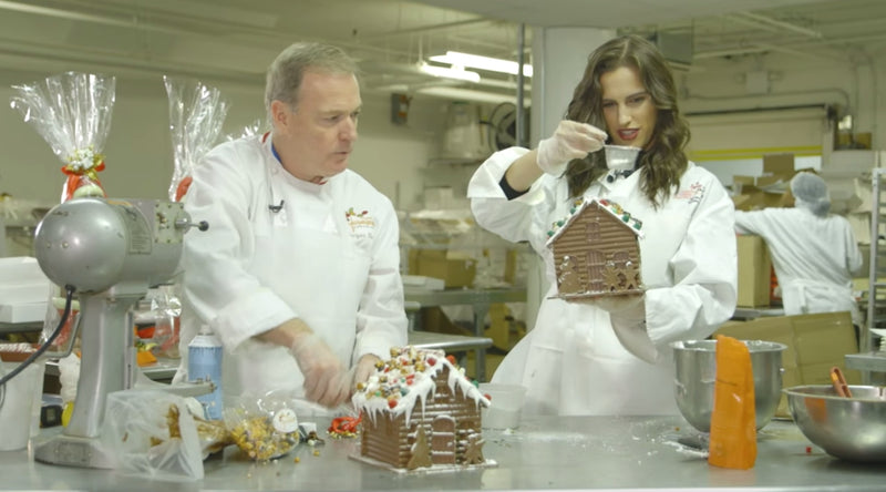 Grub Streets' Madi Mills making Jacques' Chocolate North Pole House