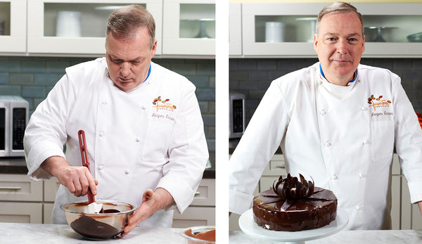 Chef Jacques Torres demonstrating cake