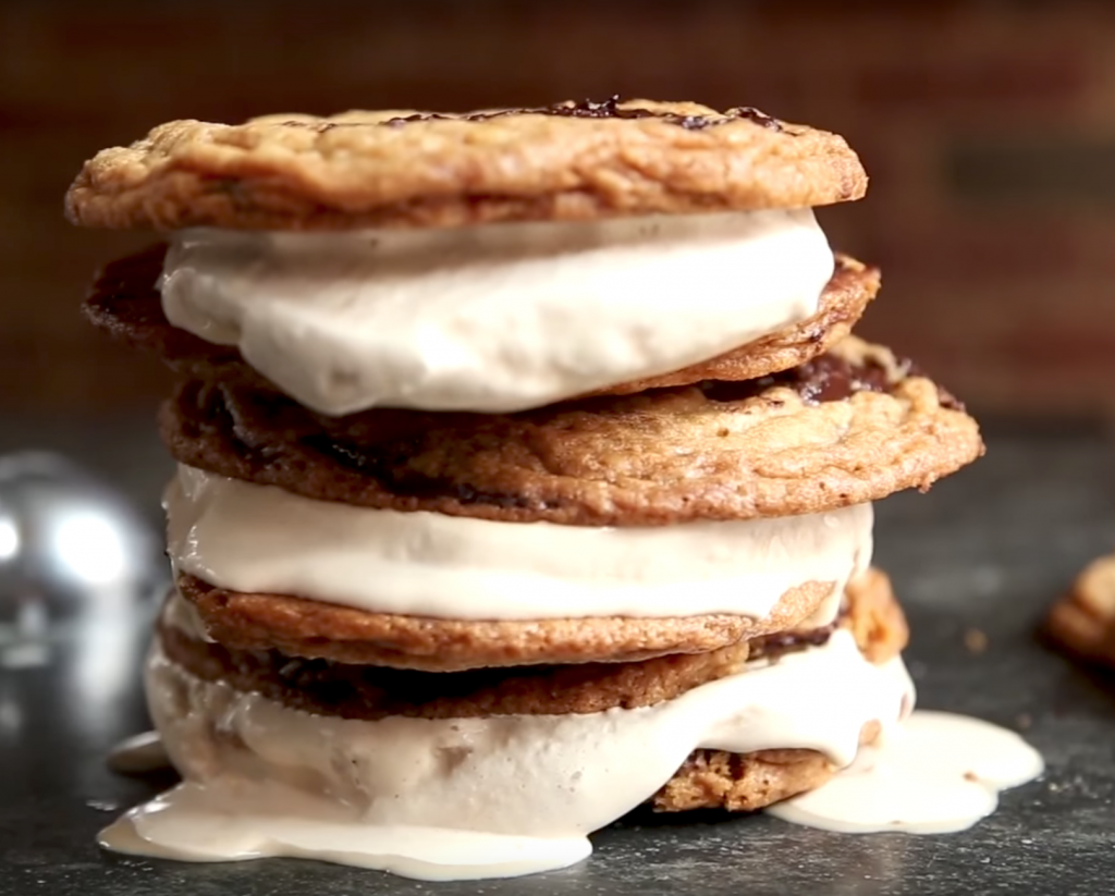 Ice Cream Sandwiches using Jacques Torres Chocolate Chip Cookies