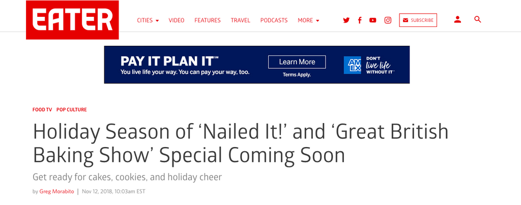 Eater - Article on Nailed It! Holiday!