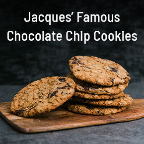 Jaques' Famous Cookies on a cutting board