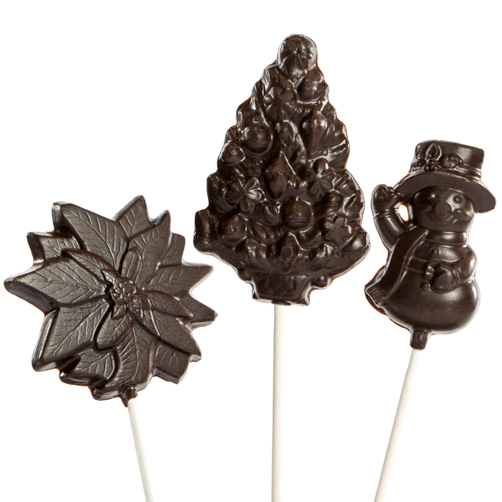 Dark Chocolate 6 pc and 12 pc Christmas Lollipops by Jacques Torres