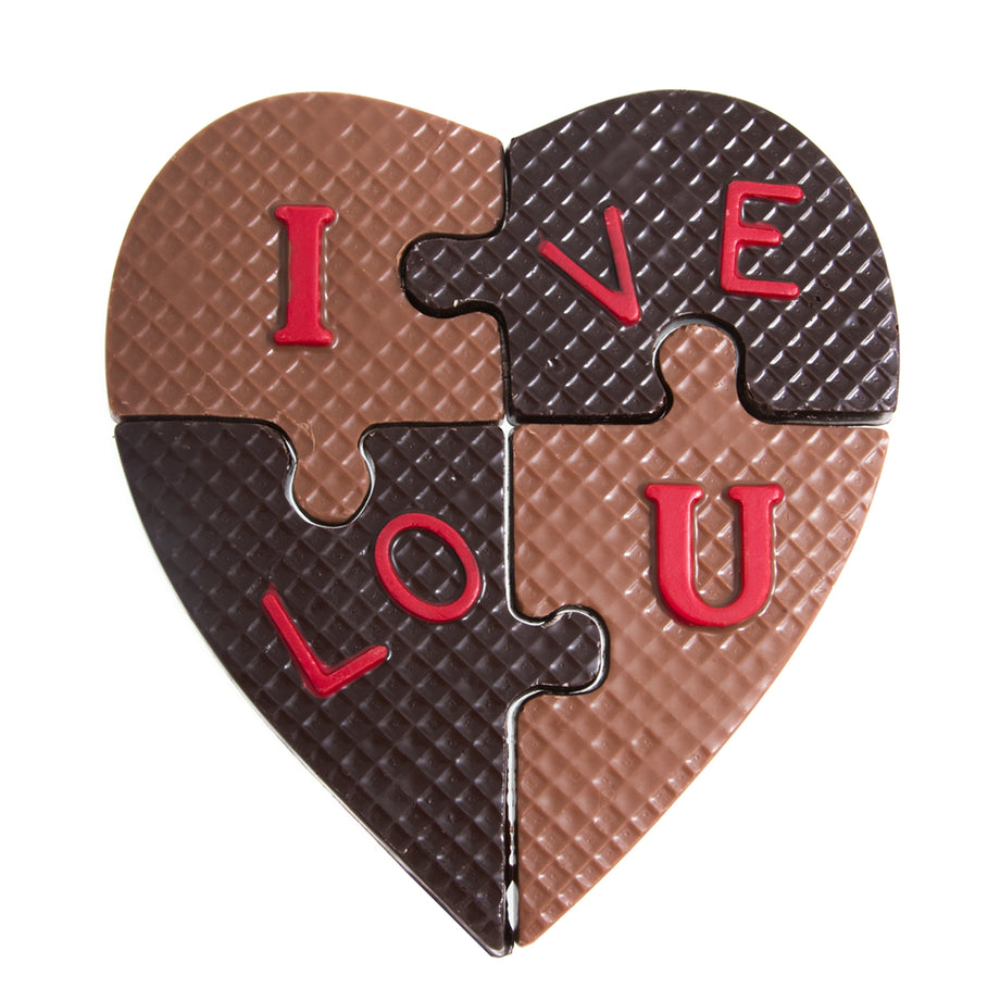 Milk & Dark Chocolate I Love You Puzzle by Jacques Torres
