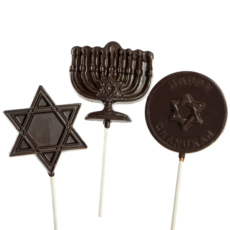 6 pc and 12 pc - Dark Chocolate Hanukkah Lollipops by Jacques Torres