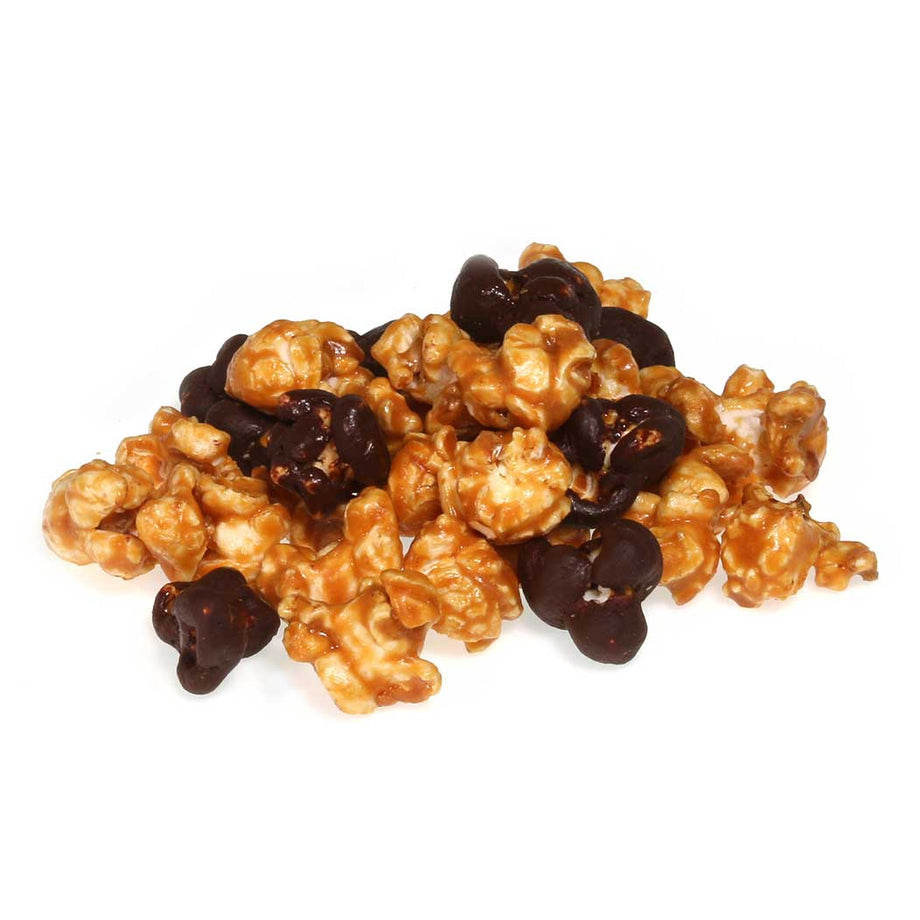 Caramel Popcorn with chocolate drizzle by Jacques Torres