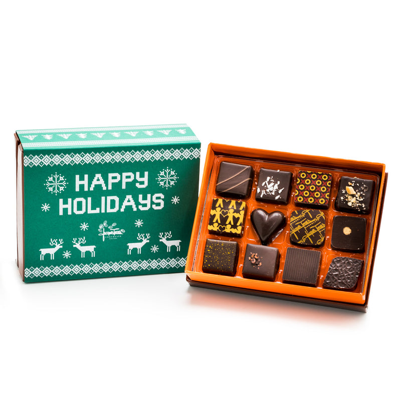 12 pc - Dark Chocolate Happy Holidays BonBons by Jacques Torres