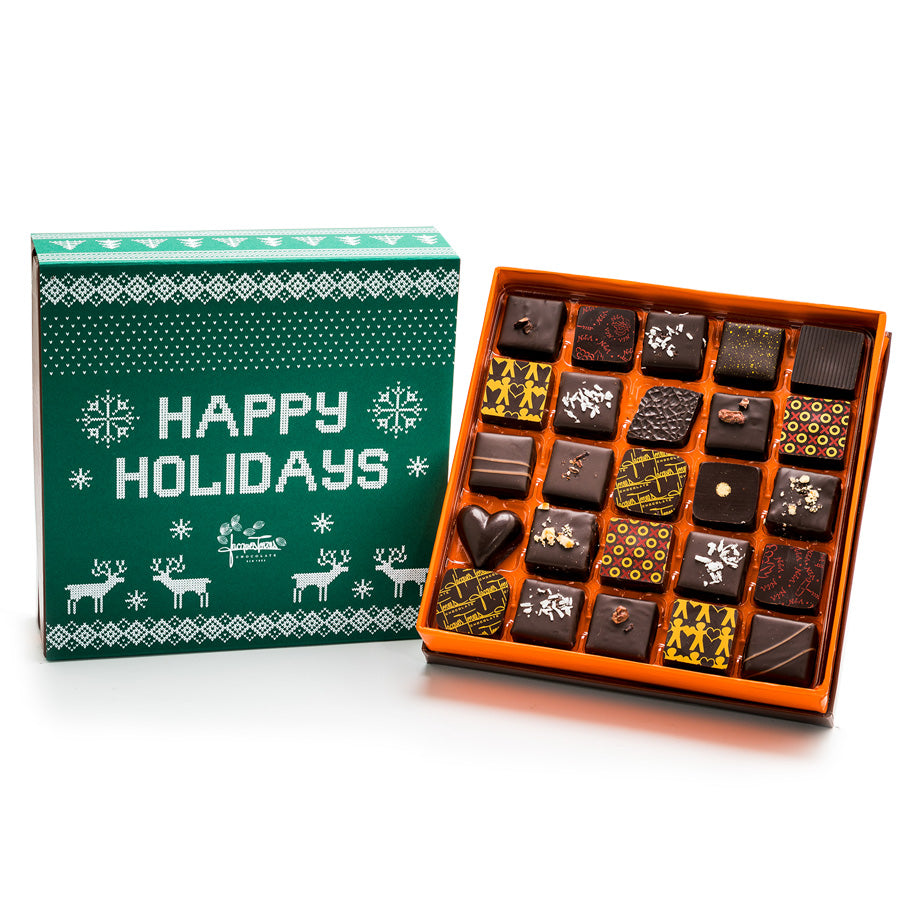 25 pc - Dark Chocolate Happy Holidays BonBons by Jacques Torres