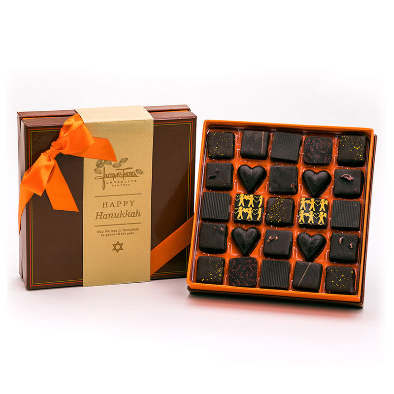 Dark Chocolate Bonbons with Gold Happy Hanukkah Sleeve 25 pc and 50 pc