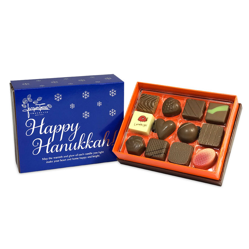 Milk Chocolate Bonbons with Blue & Silver Happy Hanukkah Sleeve 12 pc