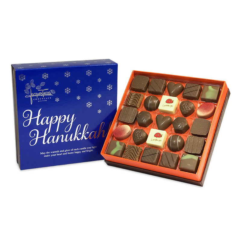 Milk Chocolate Bonbons with Blue & Silver Happy Hanukkah Sleeve 25 pc and 50 pc