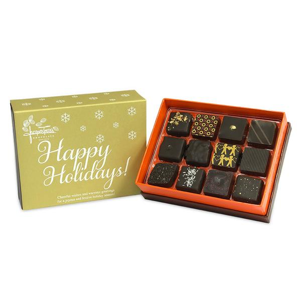 Dark Chocolate Bonbons with Gold Happy Holidays Sleeve 12 pc