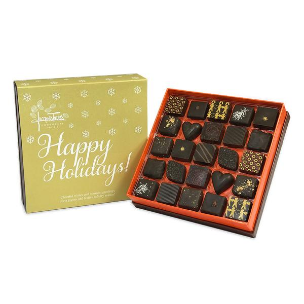 Dark Chocolate Bonbons with Gold Happy Holidays Sleeve 25 pc and 50 pc