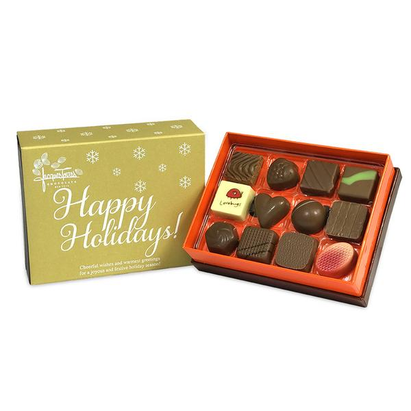 Milk Chocolate Bonbons with Gold Happy Holidays Sleeve 12 pc