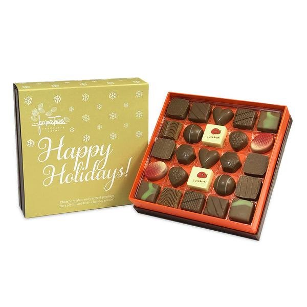 Milk Chocolate Bonbons with Gold Happy Holidays Sleeve 25 pc and 50 pc