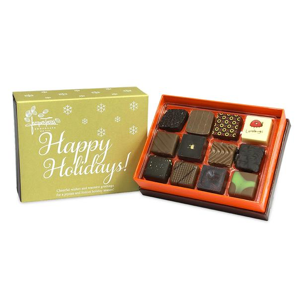 Assorted Bonbons with Gold Happy Holidays Sleeve 12 pc