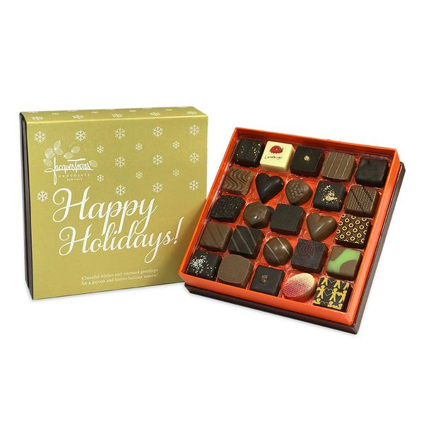 Assorted Bonbons with Gold Happy Holidays Sleeve 25 pc and 50 pc