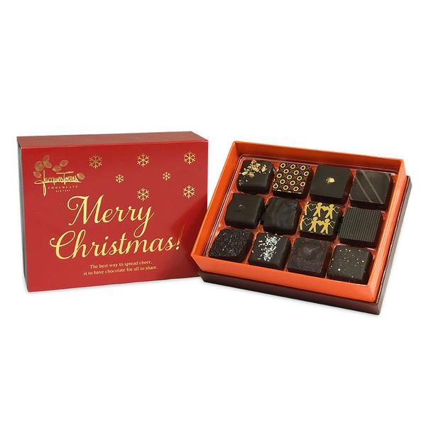 Dark Chocolate Bonbons with Red & Gold Merry Christmas Sleeve 12 pc