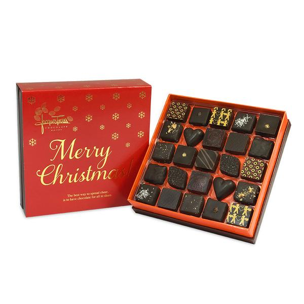 Dark Chocolate Bonbons with Red & Gold Merry Christmas Sleeve 25 pc and 50 pc