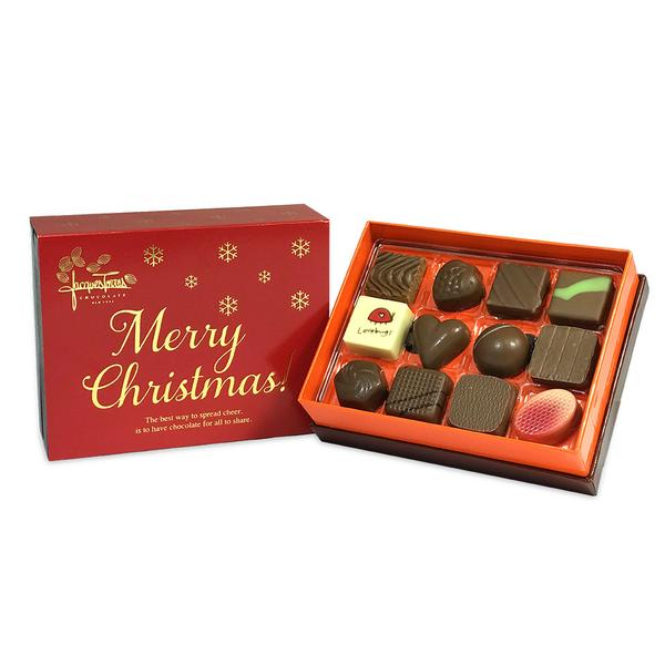 Milk Chocolate Bonbons with Red & Gold Merry Christmas Sleeve 12 pc