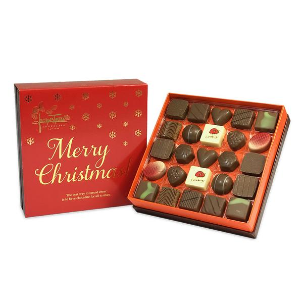 Milk Chocolate Bonbons with Red & Gold Merry Christmas Sleeve 25 pc and 50 pc