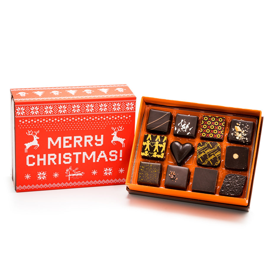 12 pc Merry Christmas Dark Chocolate Bonbons by Jacques Torres