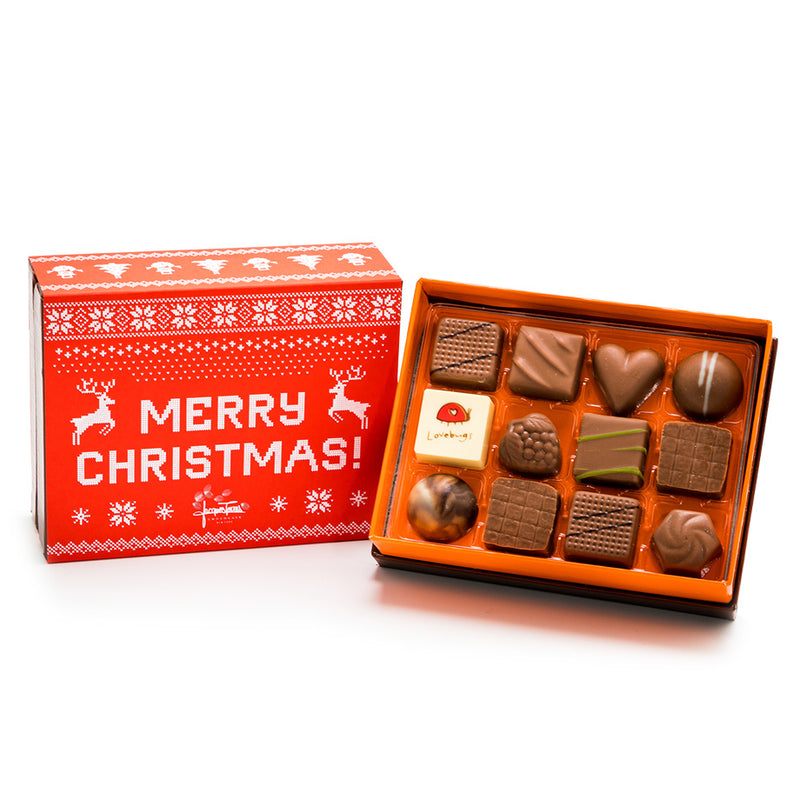12 pc Merry Christmas Milk Chocolate Bonbons by Jacques Torres