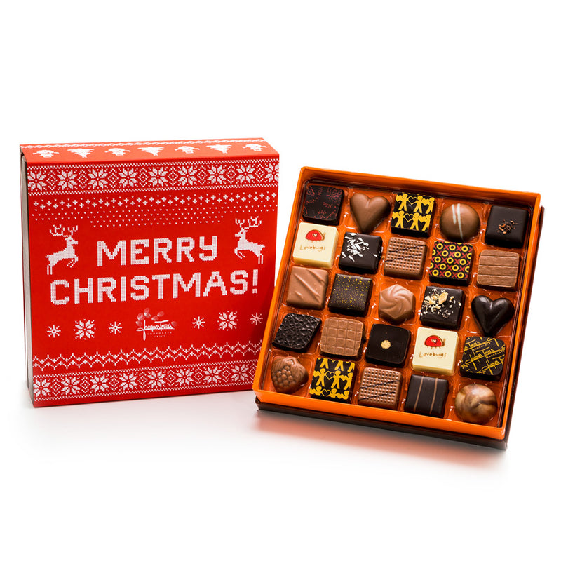 Assorted Bonbons with Red & White Merry Christmas Sleeve by Jacques Torres 25 pc and 50 pc