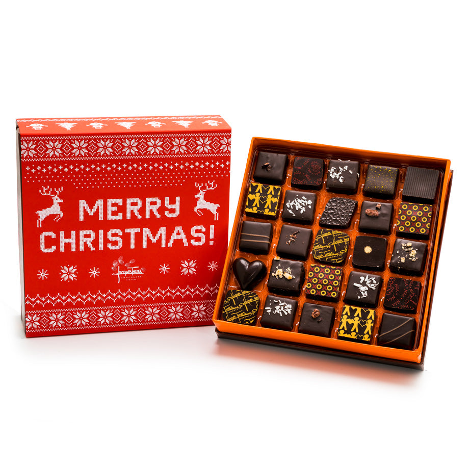 25 pc Merry Christmas Dark Chocolate Bonbons by Jacques Torres