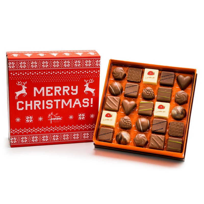 25 pc Merry Christmas Milk Chocolate Bonbons by Jacques Torres