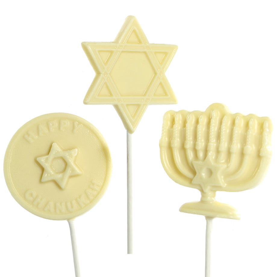 White Chocolate 6 pc and 12 pc Hanukkah Lollipops