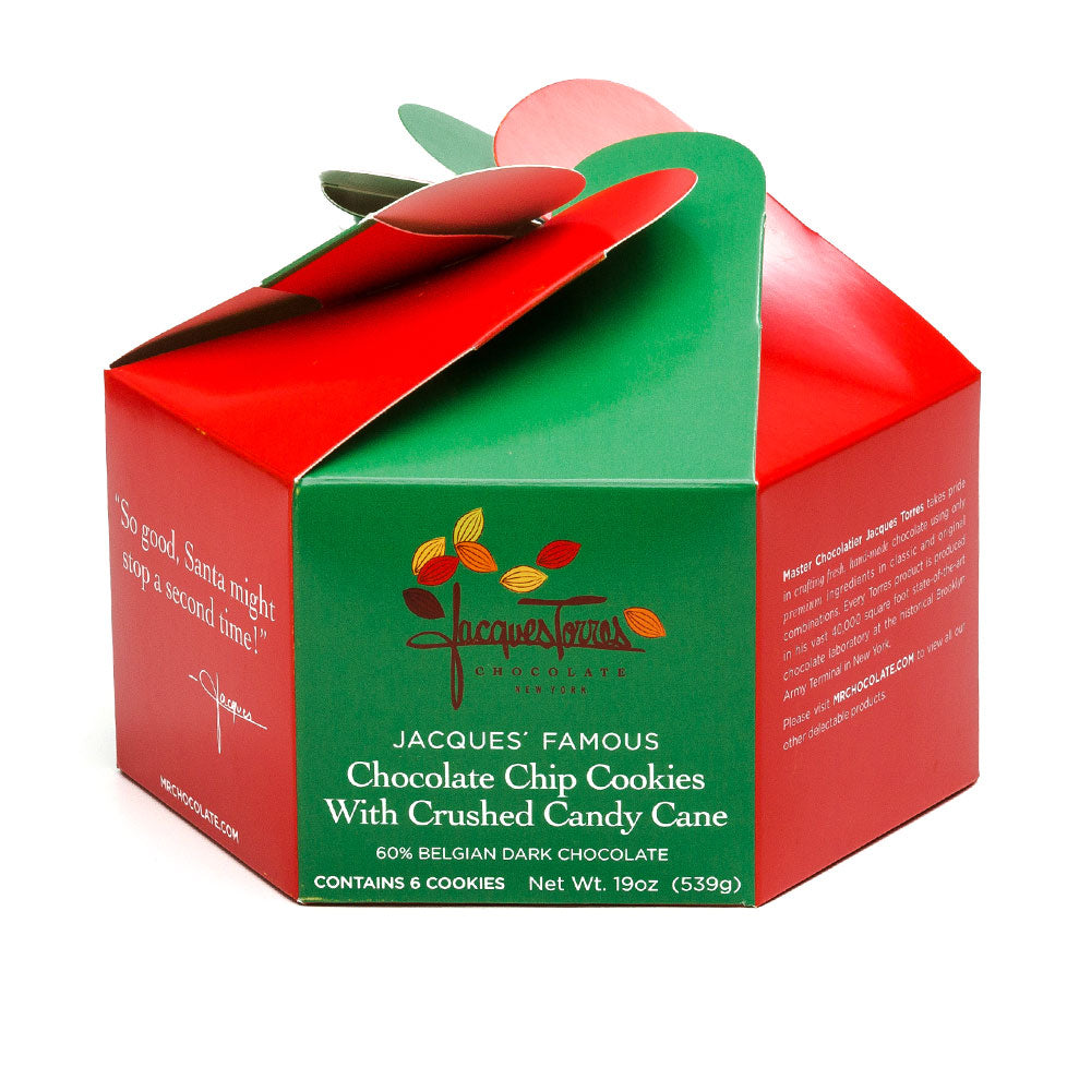 Jacques' Famous Chocolate Chip Cookies with Crushed Candy Cane in decorative box