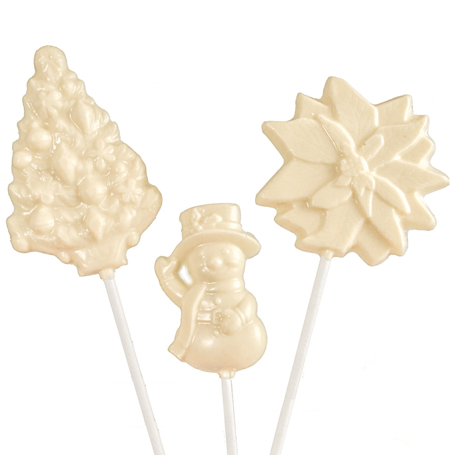 6 pc and 12 pc White Chocolate Christmas Lollipops