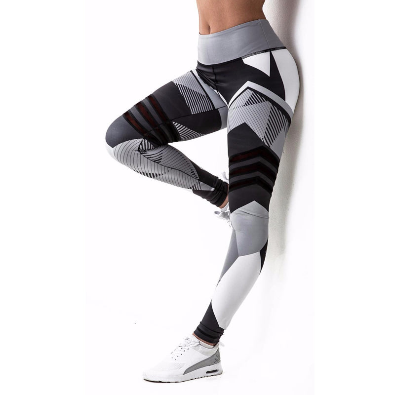 LEGGING FITNESS MUSCULATION GEOMETRY - Noir Gris -50%