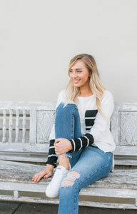 Cynthia J Black + White Stripe Long Sleeve