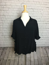 Black Button Down Ruffle Top