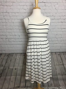 White with Black Stripe Midi Dress