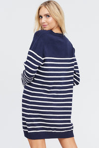 Navy Stripe Sweater Dress