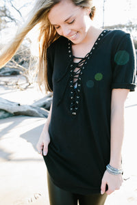 Short Sleeve Lace-Up Tunic Black