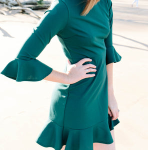 Hunter Green Ruffle Hem & Sleeve Dress