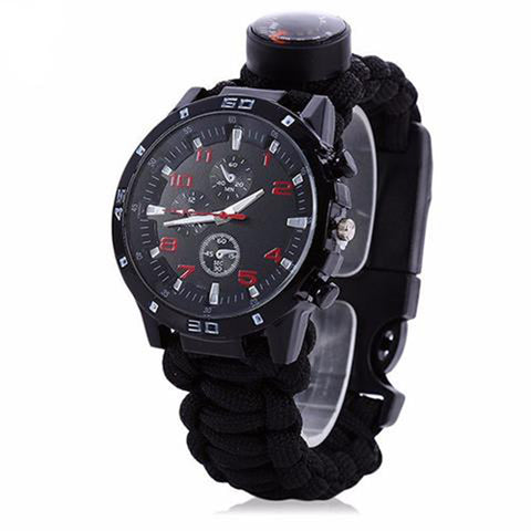 EDC Tactical Survival Bracelet/watch/compass/whistle/thermometer/paracord rope