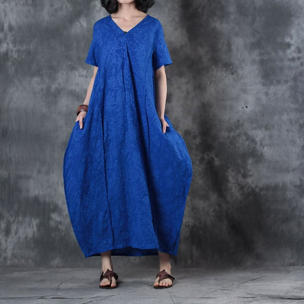 Women Casual Loose Silk Linen V Neck Maxi Dress Pockets Button Blue