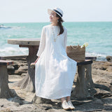 Women Casual Loose Round neck Pleated Ramie Dress White