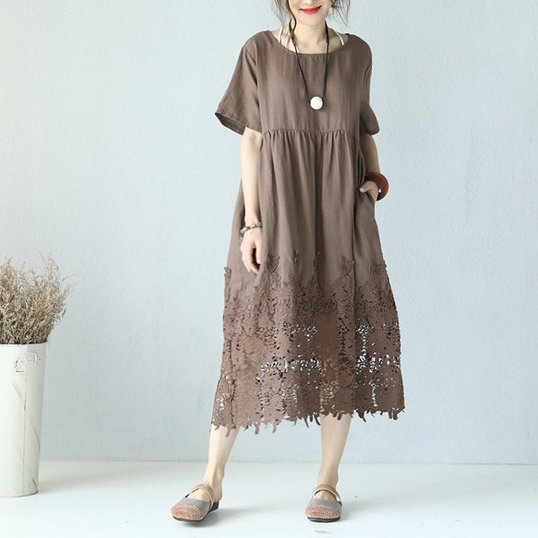 Women Causal Loose Flax Splice Lace Maxi Summer Dress Pleats High Waist Coffee