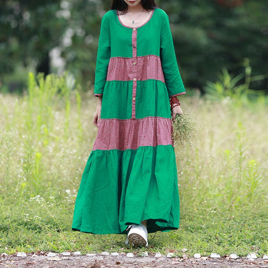 Women Cotton Linen Loose Bohemia Floral Skirt Pleats Maxi Dress Green