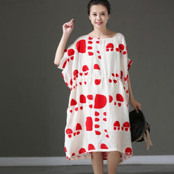 Women Casual Loose Round Collar Dot Print Linen Bat Sleeve Summer Dress